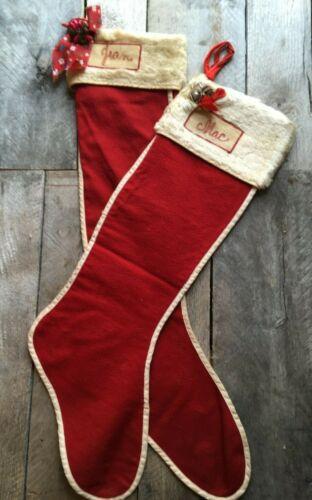 "Great Vintage Set of 2 Felt & Faux Fur Christmas Stockings ""Jean & Mac"" 1940"
