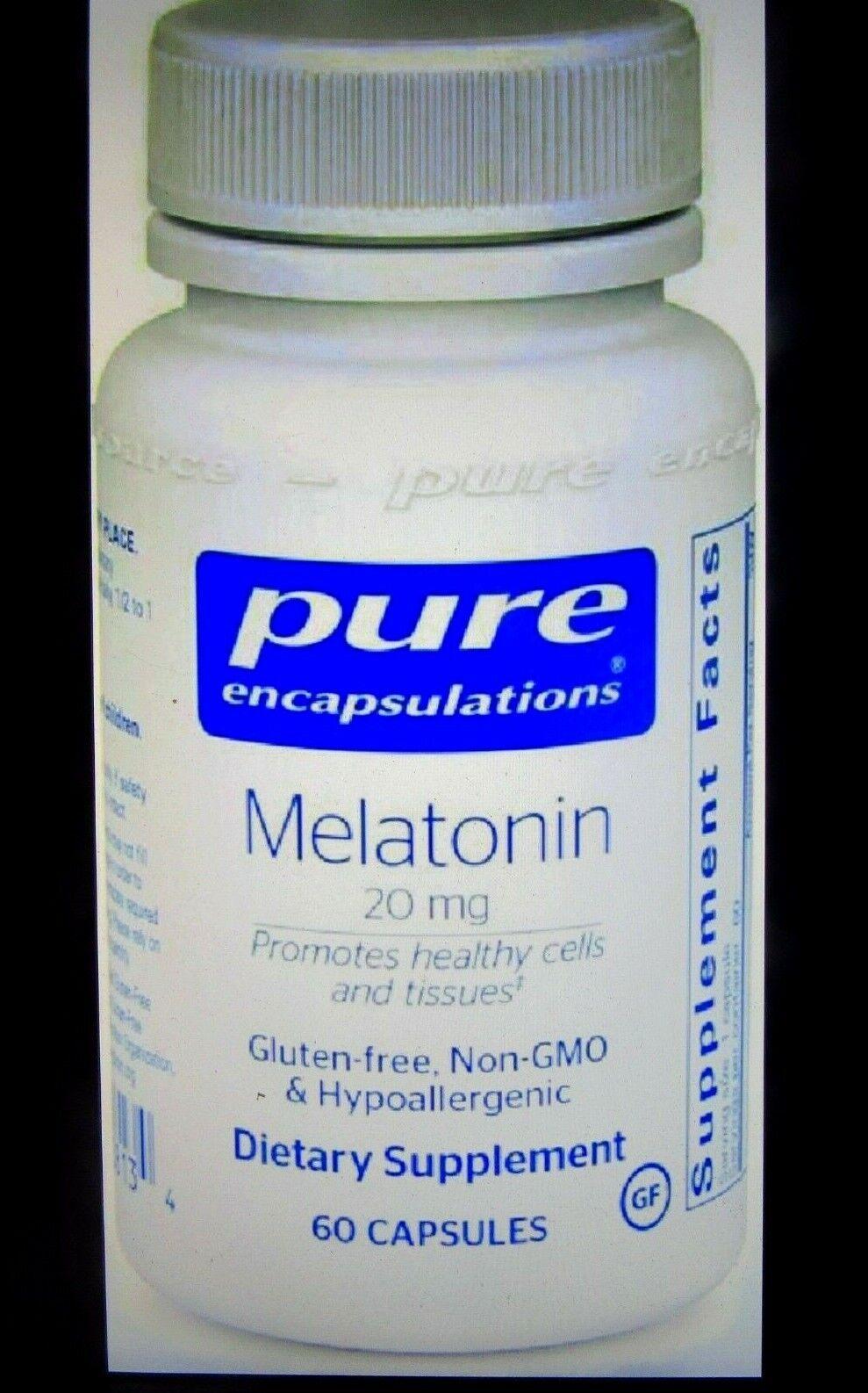 Pure Encapsulations  Melatonin 20 mg Hypoallergenic Sleeping Aid 60 Capsules