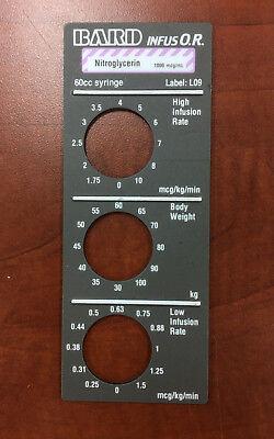 Bard Infus Or Nitroglycerin Magnetic Label L09