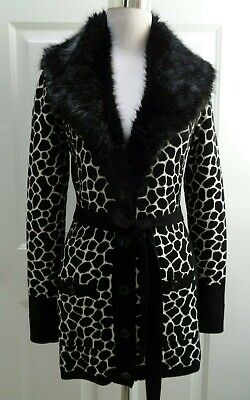 CACH'E BLACK & WHITE BELTED FAUX FUR COLLAR LONG CARDIGAN SWEATER SIZE -