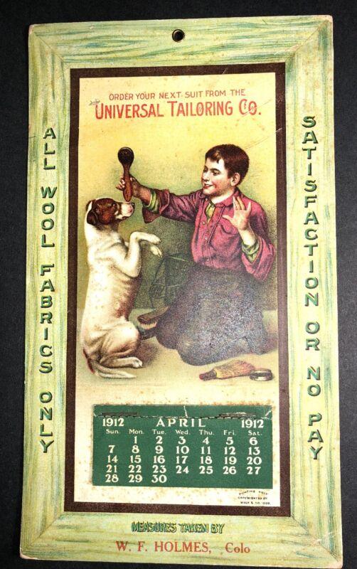 1912 Calendar Sign Tailoring Holmes Colorado Boy & Dog Art