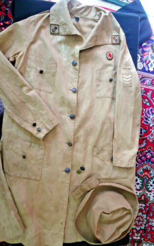 AUTHENTIC 1920S GIRL SCOUT UNIFORM &HAT, ALL ORIG, BUTTONS, PATCHES, LABEL