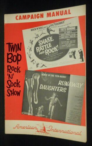 SHAKE RATTLE AND ROCK / RUNAWAY DAUGHTERS 1956 Pressbook Fats Domino Lisa Gaye