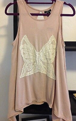 Womens Tank Top Shirt Tunic Blouse  Rue21 Polyester Butterfly Size Medium Nwt
