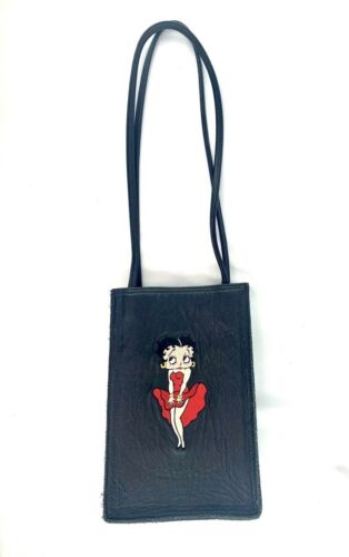 Vintage Betty Boop Purse TM Hearst '95 Embroidered Black Leather Crossbody Bag