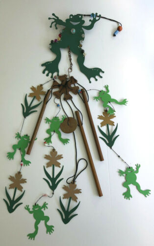 """40"""" FROG JEWELED WINDCHIME MOBILE * NWT * frogs & flowers"""
