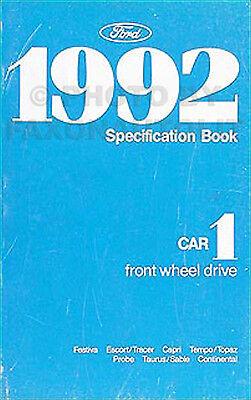 1992 Ford Service Specifications Manual Probe Taurus Escort Tempo Festiva Tempo