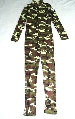 LEG AVENUE Green Camouflage AIRBORNE HALLOWEEN COSTUME Jump-Suit Bodysuit M - Green Suit Halloween Costume