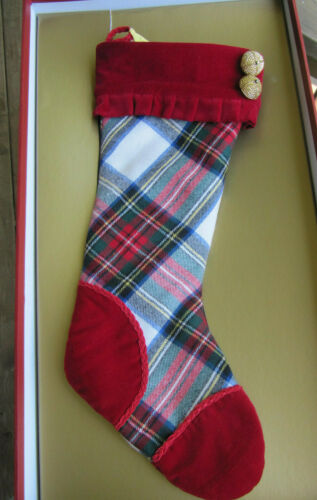 "Waterford Heirloom White Stewart Plaid Xmas Wool Stocking LE 18"" Box"