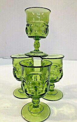 Vintage Indiana Green Glass Kings Crown Thumbprint 4 1/4