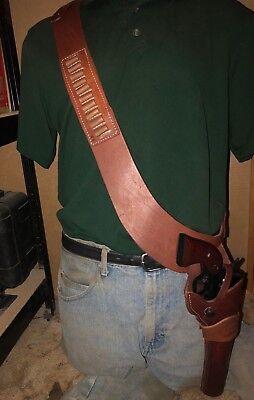 """Leather Bandoleer Holster Cartridge Carrier 44 Magnum Fit 7 1/2"""" Ruger Blackhawk"""