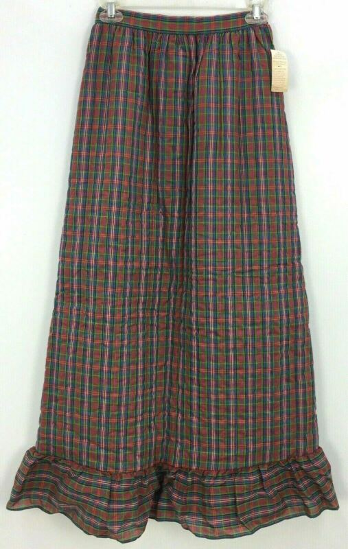 VTG NWT 70s Her Majesty Multicolor Plaid Print Quilted Maxi Skirt Girls Size 14