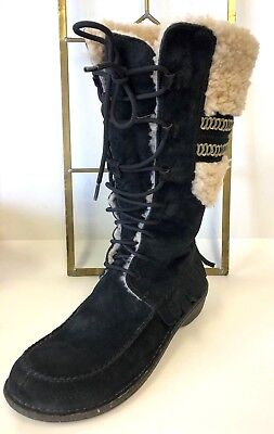 Ugg Tribal Fringe Black Suede Mid Calf Lace Up Women's Boots Sz 7 CLEAN