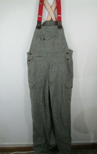 Vtg FILSON Wool Bib Overalls Gray Red Suspenders Mens Sz 36 x 31 USA Made