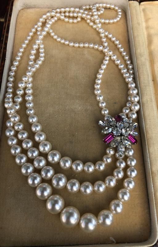 Vintage Faux Pearl Pink Diamanté Graduated Necklace