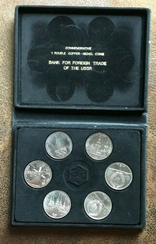 Russia USSR 1 Rouble 1980 Moscow Olympics Set of 6 Coins with Box