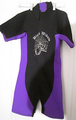 Shorty Wet Suit Tricky Dicky Black Widow Adult XXS Black and Purple Snorkel Scub