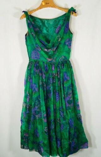 Vintage 50's 60's Rockabilly Dress womens Size small Floral Drape back