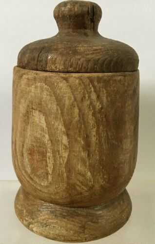 """Early Primitive 5"""" Treen Turned Raw Wood Spice Container Jar w/ Lid Farmhouse"""