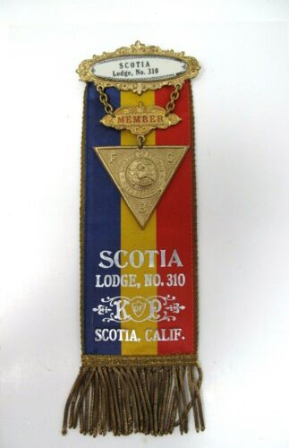 Vintage SCOTIA LODGE NO. 310 Knights Of Pythias Ribbon Badge California Lilley
