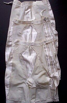 Vtg 50s 60s High waist long leg zippers clips garters Girdle lot of 3  Ivory S