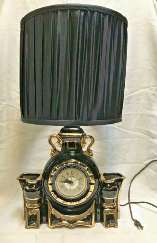 Vintage Mid Century Lanshire Hollywood Regency Clock Lamp With Shade