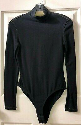 vintage GIANNI VERSACE Couture black knit bodysuit shirt top RARE women M