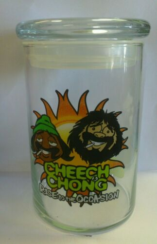 CHEECH & CHONG RISE TO THE OCCASION AIRTIGHT LID GLASS FOOD & HERBS STORAGE JAR
