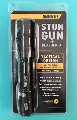 SABRE Tactical Stun Gun w/LED Flashlight Extremely Strong Pain-Inducing S-1000SF