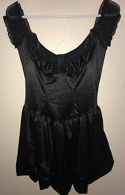 women size M/L black FREDERICKS HOLLYWOOD SEXY FUN WEAR DRESS bow HALLOWEEN wow