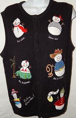 Pullover Weste L Bechamel Holiday Weihnachten Hawaii Mexiko Schwarz Schneemann