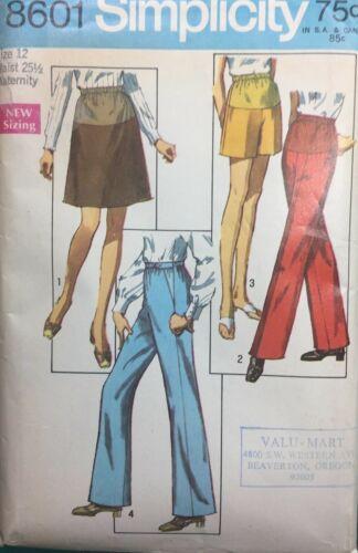 Vintage 1970s Pattern MATERNITY Skirt SHORTS Wide Leg Pants Simplicity 8601 Sz12