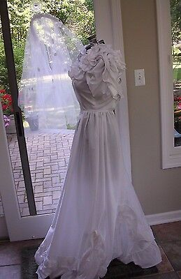 #1 REAL WEDDING GOWN & VEIL~ BRIDE  OF FRANKENSTEIN ZOMBIE WOMENS COSTUME XS](Zombie Bride Costumes)