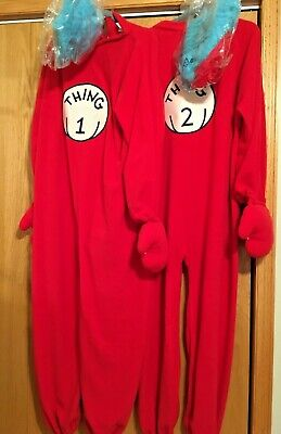 Thing 1 Wigs (Dr. Seuss Thing 1 and Thing 2  Adult Fleece Costumes with Wigs- One)