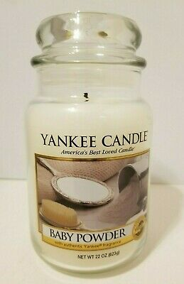 Yankee Candle BABY POWDER Candle 22 oz Jar - RARE RETIRED White Label
