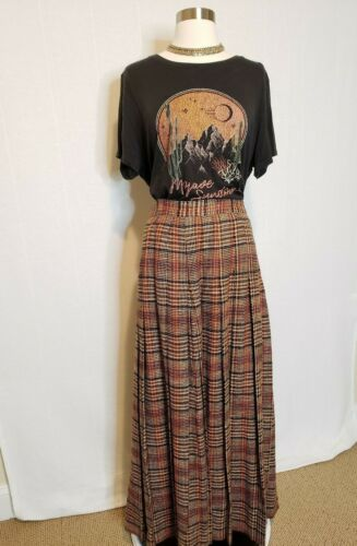 60s Vintage Skirt Long Maxi Wool Brown Checks Union Made Pleated