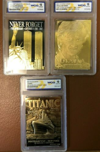 Three 23Kt Gold Card Collectibles