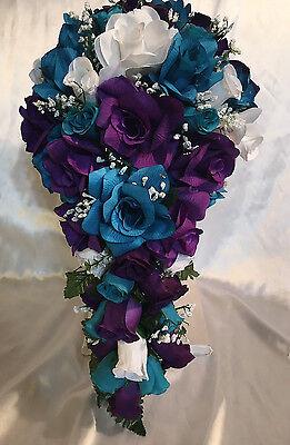 21 Piece Bridal Bouquet Package TEAL PLUM PURPLE Silk Wedding Flowers