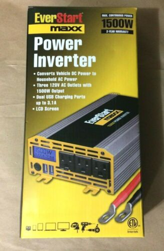 Everstart Maxx 1500 Watt Power Inverter 120v AC Outlets W/ 1500W Output PC1500E