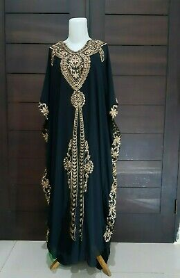 Moroccan Dubai abaya kaftan Luna black lace maxi dress plus size maternity Eid