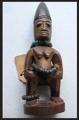 EARLY 20th CENTURY YORUBAN IBEJI WOODEN MALE TWIN FIGURE WESTERN AFRICA, NIGERIA for sale  Durham