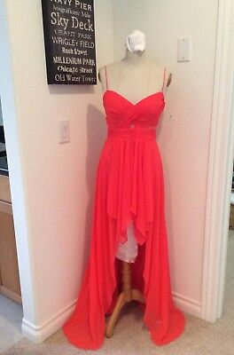 Arden Prom Evening Gown Siz XS S Strapless Long Dress Hi-Lo Pleated Bodice (Bodice Strapless Evening Gown)