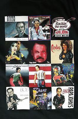 Papa Johns Pizza Rock N Roll Legends Spoof T Shirt Mens L Large Rocker Tee