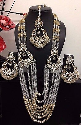 Latest New Bollywood Indian Jewellery Long Rani Haar  Necklace Set Wedding Party