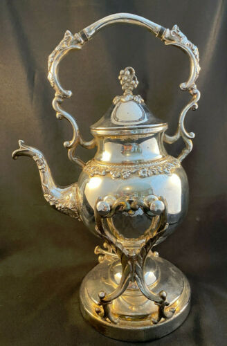 BIRMINGHAM SILVER CO TIPPING TILTING TEAPOT SILVER ON COPPER BURNER STAND GRAPES