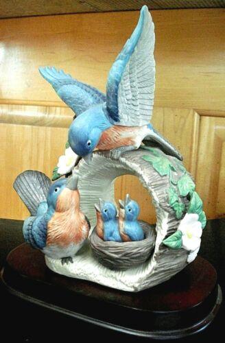 VINTAGE WESTMINSTER BLUE BIRDS HOLLOW LOG HAND PAINTED PORCELAIN FIGURINE