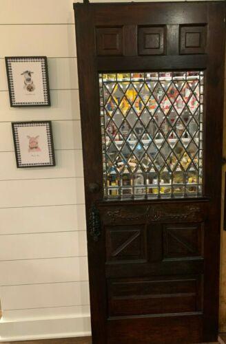 Vintage Antique Wood Door Ornate Awesome Detail Beveled Glass Pantry