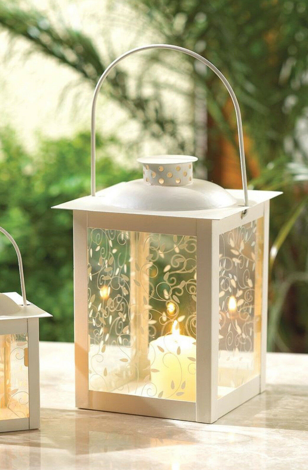 """shabby White 8"""" Candle holder Lantern light lamp wedding tab"""