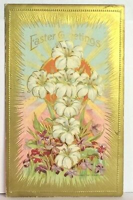 PostCard Easter Greetings Floral Gold Trim Iowa Used Posted 3-27-1911 Vintage