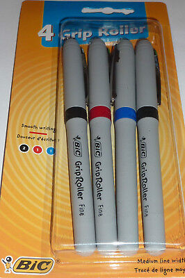 Bic 4 Pack Writing Rubber Grip Roller Pens Blackbluered Medium Point School
